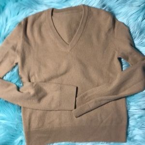 French Connection cashmere tan Small v-neck